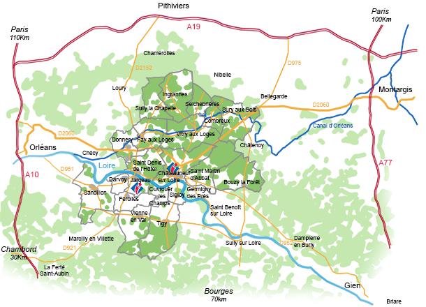 carte de la communauté de communes des loges
