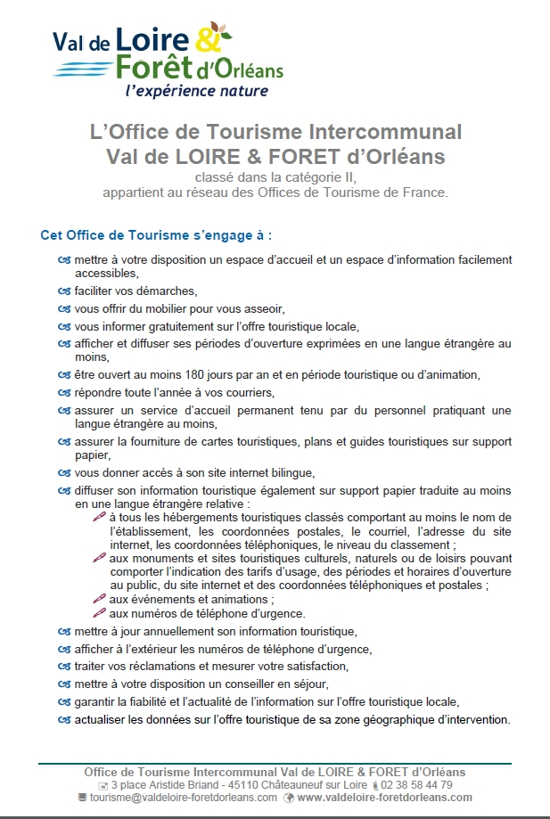 les engagements de l'Office de Tourisme
